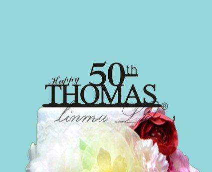 (Michell63Bentham Hochzeit Kuchen Topper Happy 50th Birthday, 50. Jahrestag Hochzeit Kuchen Topper, die erste 50Unique Wedding Cake Topper)