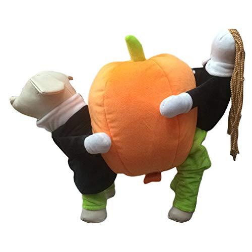 XuBa Haustier Hund süßes Cosplay Kostüm mit Kürbis Outfit für Halloween Haustier Kostüm Pumpkin M