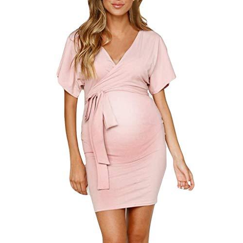 Pingtr - Sommerkleid Damen Partykleid Lang,Schwangerschaftskleid - Frauen V-Ausschnitt schwanger aushöhlen Kurzarm solide Umstandskleid
