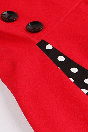 Robe Femme Chic de Soirée Imprimée à Carreaux Vintage années 1950s Elégante avec Bouton Swing Rockabilly en Coton Grande Taille par MisShow Pois-Bleu Clair