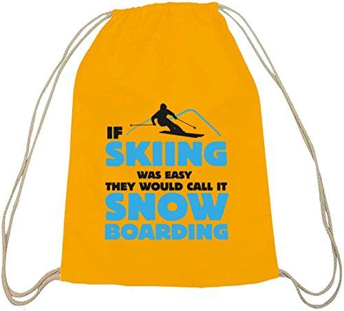 If Skiing Was Easy, Wintersport Snowboard Après Ski Baumwoll natur Turnbeutel Rucksack Sport Beutel gelb natur