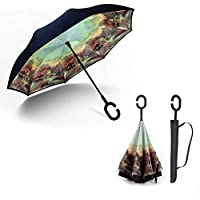xianjun Paraguas Plegable de Doble Capa invertido Protección UV a Prueba de Viento Paraguas en Forma de C con asa