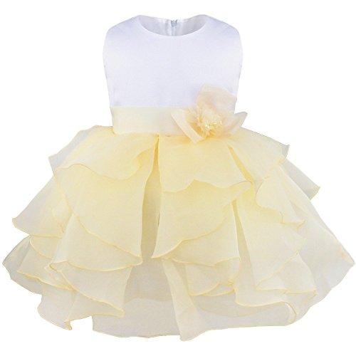 YiZYiF Blumenmädchenkleid mit Blume Brosche festlich Baby Mädchen Kleid Brautjungfernkleid Party Kleider Festzug (Beige, 62-68 (Kostüm Broschen)