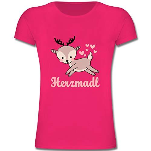 Oktoberfest Kind - Herzmadl mit süßem REH - 128 (7-8 Jahre) - Fuchsia - F131K - Mädchen Kinder T-Shirt -