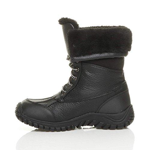 Donna basso inverno neve stringhe pelliccia stivali polpaccio caviglia taglia Nero