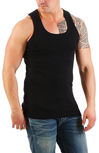 2er Pack Unterhemd Herren (Unterhemden, Muskelshirt, Achselshirt) Nr. 79 Schwarz / Schwarz