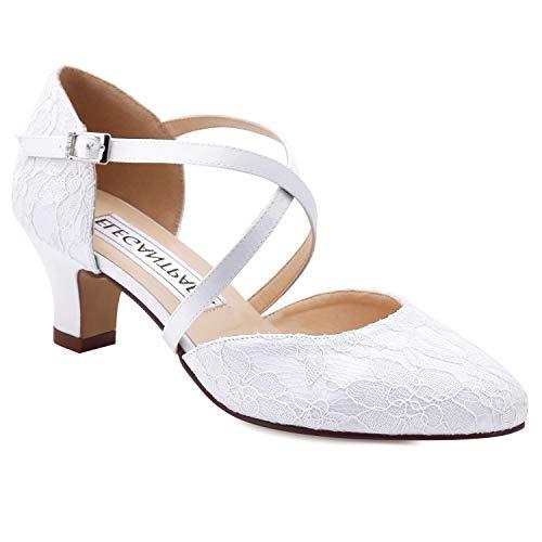 Duosheng & Elegant, Scarpe col Tacco Donna, Avorio (Avorio), 36.5