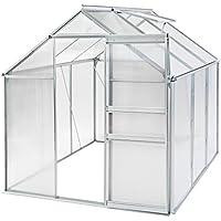 TecTake Serra da giardino in alluminio e policarbonato con finestra per piante orto casetta esterno 190x190x195cm