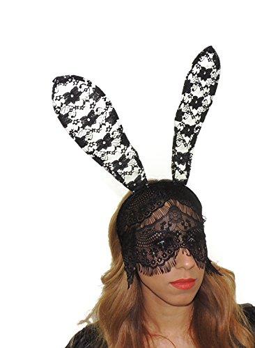 Lace Bunny Ohren mit Muster Kostümparty, Halloween, Aufschrift