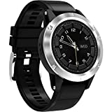 GPS Bluetooth Smart Watch Kamera Sport SIM-Karte, Herzfrequenz-Monitor Schlaf Schrittzähler Compass Anruf/SMS Erinnerung USB Gebühr IOS Android Uhren,Silver