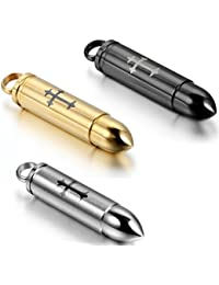 JewelryWe 3PCS of Stainless Steel Detachable Cremation Urn Bullet Pendant Necklaces 22 Inch, Black Gold Silver