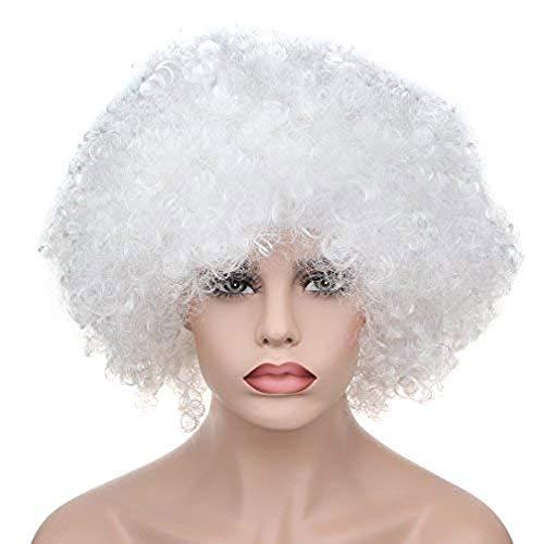 Fan Basketball Kostüm - Quliu Lockige Afro Perücken Kostüm Perücke für Männer und Frauen Fußball Fußball Fans Kostüme Zubehör,G
