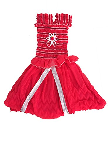 White World Baby Girls Red Color Birthday Party wear Frock Dress