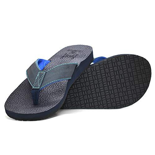 KuaiLu Yoga Matte Flip Flop mit Arch Support für Männer Gummisohle Gepolsterte Schaum Slip On Thong Sandalen, Geprägtes Blau, 46 EU