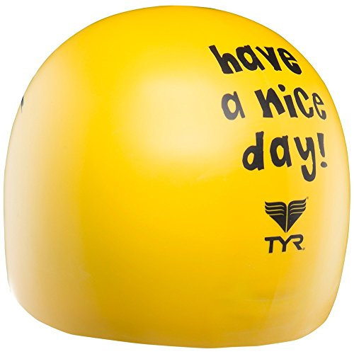 TYR Erwachsene Badekappe Have Nice Day Yellow, One Size -