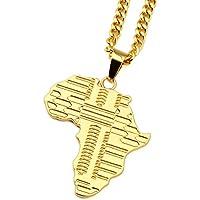nyuk Nero Uomo Africano Mappa da uomo placcato oro 18K collana catena pendente hip-hop