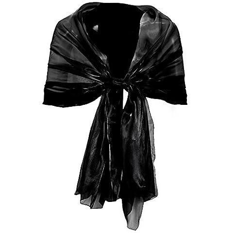 Chiffon Stola Schal Chiffonschal Hochzeit Bolero Abendkleid Tuch schwarz