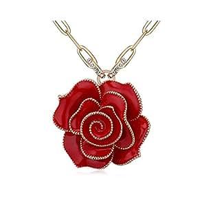TRESOR lunga DEPOT Collana lunga, placcato oro a forma di fiore, 9 consegna gratuita, colore: rosso