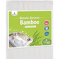 Babysom - Matelas de Berceau Bamboo - 90x40cm - Forme Rectangulaire - Déhoussable - Garantie 2 ans - Fabrication Francaise