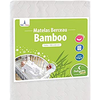 Babysom Matelas De Berceau Bamboo 90x40cm Forme Rectangulaire Dehoussable Garantie 2 Ans Fabrication Francaise