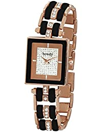 Howdy White Analog Dial Crystal Studded Stainless Steel Chain Women Watch (howdy-ss1077)