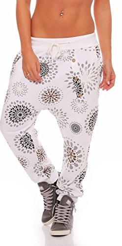 malito Sweatpant mit Print und Knopfleiste Baggy 3381 Damen One Size Weiß