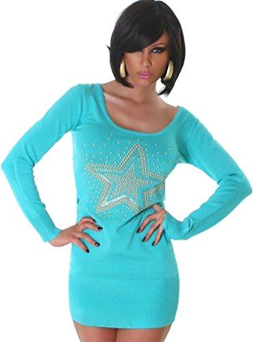 Jela London Damen Strickkleid Kleid Nieten-Stern Einheitsgröße 32,34,36,38 - Türkis