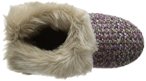 Totes - Totes Ladies Lurex Knit Boot Slipper, Pantofole Donna Multicolore (Multicolor (Purple/Gold))