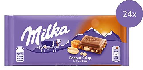 Milka Peanut Crisp - Zartschmelzende Schokolade mit Erdnüssen, Karamellstücken und Cornflakes - 24 x 90 g