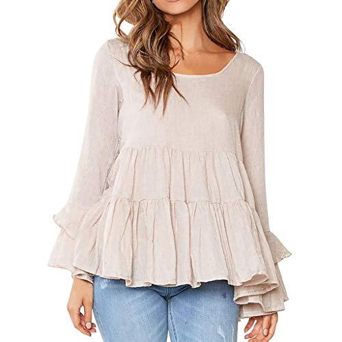 Bluse Tunika Blusen O-Ausschnitt Hemd Oversize Shirt Elegant Langarmshirt Mit Volant TrompetenäRmeln Freizeit Pullover(L,Beige)