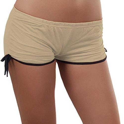 Damen GoGo Hotpants Hose Pants Panty Sport Freizeit Shorts Heiß 34,36,38 Beige
