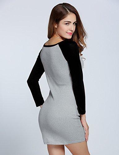CRAVOG Minikleid Pullover Damen Strickkleid Jerseykleid Langarm Bleistiftkleid Patchwork Knitting Bodycon Kurz Kleid Schwarz