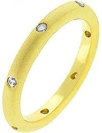 Eleganter Trauring Ring mit Zirkonia Diamanten, Brautschmuck, 14 Karat Gold Vermeil