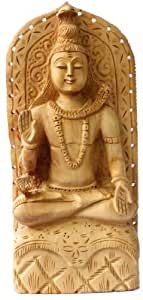 Hand Carved Wooden Ethnic Shiva Statue Size 8.2 inches