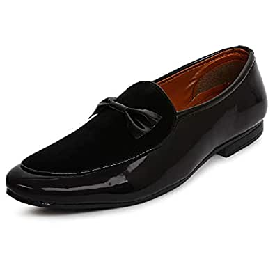 BUWCH Men Formal Black Synthetic Leather Loafer & Mocassins Shoe-6UK