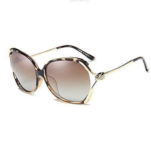 Sonnenbrille Sonnenbrille Frauen Polarisierte UV-Rahmen Mode Fahren Runde Gesicht Hohle Diamanten Fahren Sonnenbrille (Farbe : Leopard)