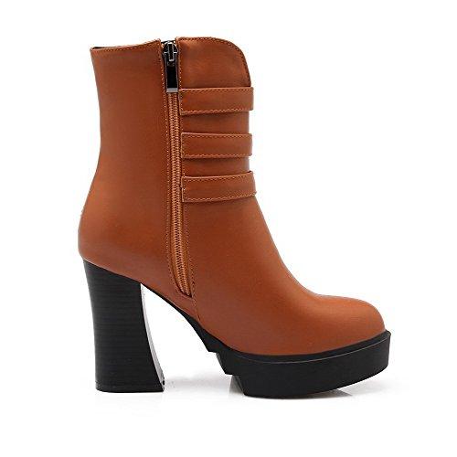 AgooLar Damen Blend-Materialien Rein Reißverschluss Rund Zehe Hoher Absatz Stiefel, Aprikosen Farbe, 43