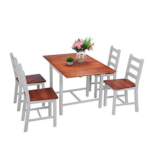 Panana Esstisch Stuhl Set Klapptisch Essgruppe Tischgurppe, Esstischgruppe Sitzgruppe Esszimmergarnitur, 119 x 75 x 73 CM , Tisch und 4 Stühle, Holz - Braun + Grau