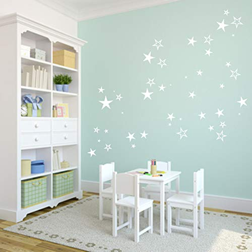Wandtattoo Wandschnörkel®40/80 Sterne Aufkleber selbstklebend Dekoration XXL Set Kinderzimmer Möbel Spiegel Fenster Fliesen