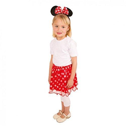 Kinderkostüm Mäuschen für Mädchen / Rock sowie Haarreif mit Mausohren und Schleife / Kostümset Mausset 3/5 Jahre (Rock Minnie)