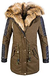 Rock Creek Designer Damen Winter Jacke Mantel Parka Bikerjacke Outdoor Jacke Wintermantel Kunstfell Futter Wattiert Warm CL-817 Dunkelgrün S