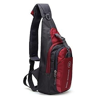 YINGBO Waterproof Packable Shoulder Backpack Sling Chest CrossBody Bag Cover Pack Rucksack for Bicycle Sport Hiking Travel Camping Bookbag Men Women (red)