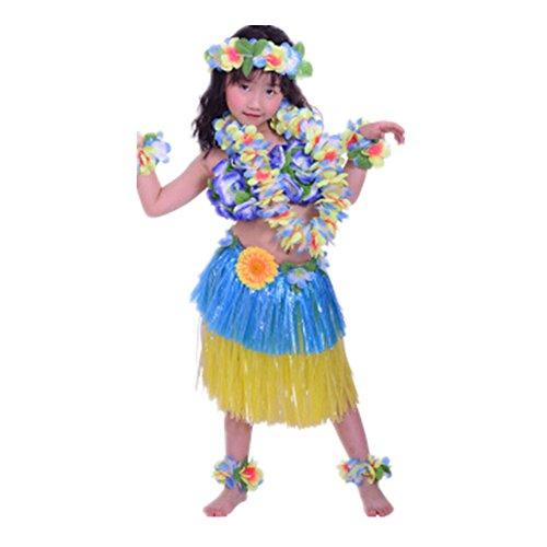 8pcs-Hawaiano-Hula-Vestido-Falda-de-Hierba-40cm-para-Ninos-Guirnaldas-de-flores-Disfraces-de-Baile-playa