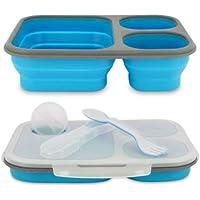 Preisvergleich für Silikon Lunch Box/Silikon Zusammenklappbar Essens-Kit/3fach/BPA free-silicon/Mikrowelle/Spülmaschinenfest–Lunch Box–Farbe kann sehr