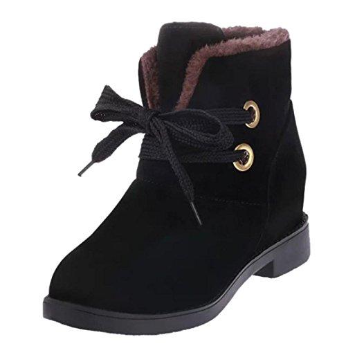 Damen Schuhe, FEITONG Frauen Schnürung Stiefel Winter Stiefel Martin Stiefel (38, Schwarz)