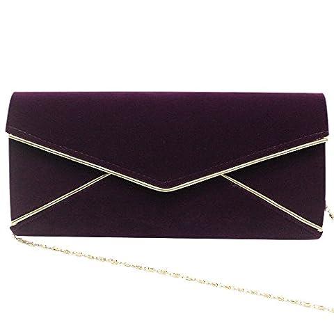 Wocharm Fashion Suede Velvet Ladies Envelope Bag Prom Party Clutch Purse Bag Evening Handbag