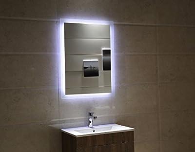 Badspiegel LED Spiegel GS084N mit Beleuchtung durch satinierte Lichtflächen Badezimmerspiegel kaltweiß