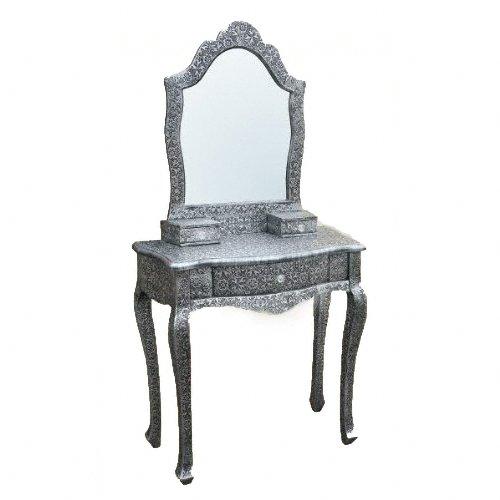 Chaandi Kar Noir Argent en Relief Coiffeuse avec Miroir Sale