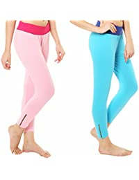 Melisa Comfortable Cotton Lycra Capri Zipper Leggings For Women Pack Of 2 - B077G9GBJJ