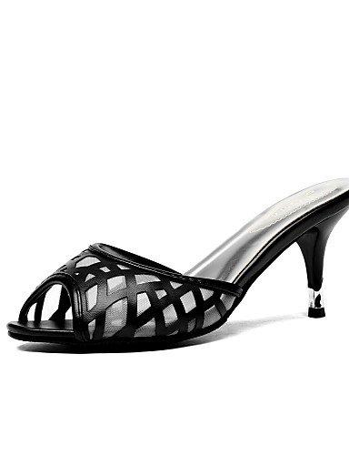 LFNLYX Scarpe Donna-Sandali-Casual / Serata e festa / Formale-Tacchi / Spuntate / Pantofole-A stiletto-Tulle / Finta pelle-Nero / Rosa / Argento Black
